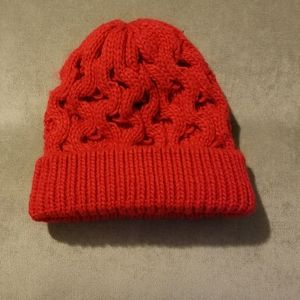 Red Cable Knit Winter Hat Beanie